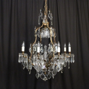 French Bronze & Crystal 9 Light Chandelier