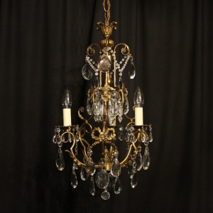 French Gilded 4 Light Antique Chandelier