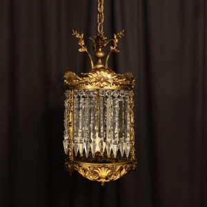 French Gilded Bronze & Crystal Antique Light