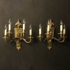 An English Pair Of 4 Arm Antique Wall Lights
