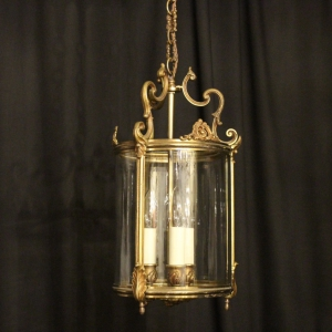 French Gilded Triple Light Antique Hall Lantern