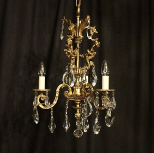 French Gilded Triple Light Antique Chandelier