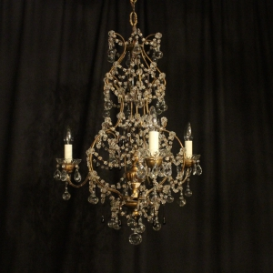 Italian Florentine Triple Light Antique Chandelier