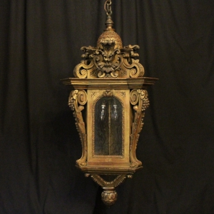 French Bronze Triple Light Antique Hall Lantern