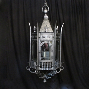 English Triple Light Gothic Antique Lantern