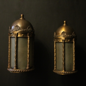 French Large Pair Bronze Antique Lanterns