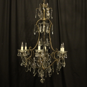 Italian Silvered Bronze 10 Light Chandelier