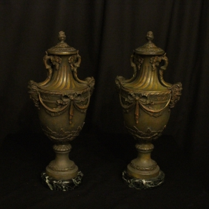 French Decorative Bacchic Headed Urns