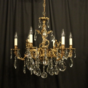 Italian Gilded Bronze 6 Light Antique Chandelier