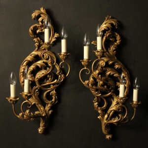 Antique chandeliers and antique lighting uk okeeffe antiques italian pair of gilded five arm wall lights mozeypictures Images