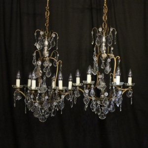 Antique chandelier pairs okeeffe antiques french pair of 6 light antique chandeliers aloadofball Gallery