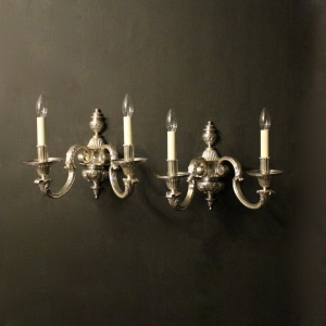 English Pair Of Silver Antique Wall Lights