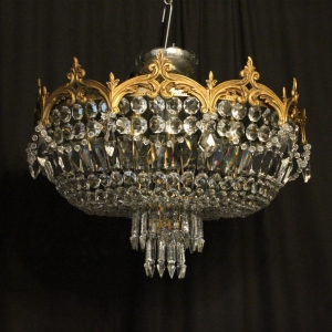 French Gilded 6 Light Antique Plaffonier