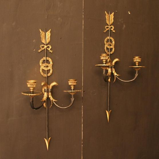 A French Pair Of Empire Antique Wall Sconces