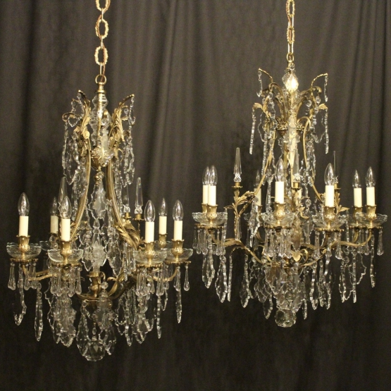 French Pair Of Bronze Antique Chandeliers - French Pair Of Gilded Bronze And Crystal 8 Light Cage Form Antique