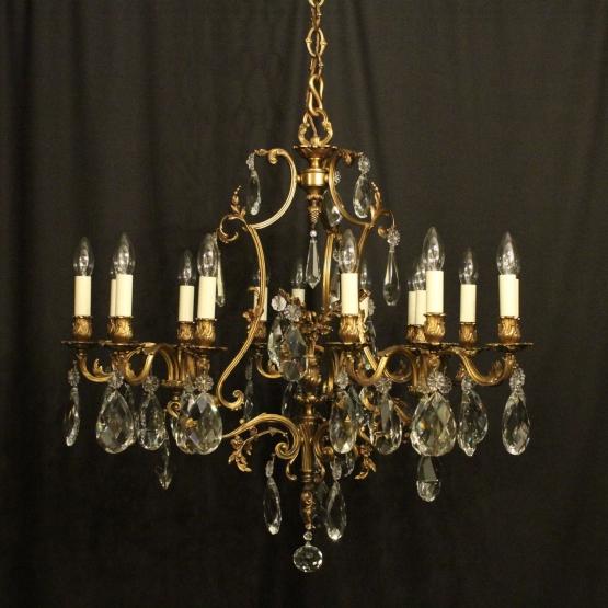 Italian gilded bronze crystal 15 light antique chandelier o italian gilded 15 light antique chandelier aloadofball Images