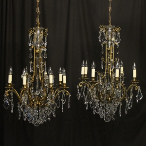 French Pair Bronze 8 Light Antique Chandeliers