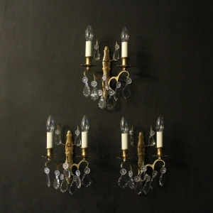 French Set Of Three Gilded Antique Wall Lights