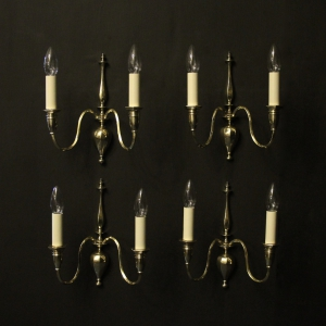 English Set Of 4 Brass Antique Wall Lights