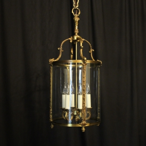 French Gilded Bronze Six Light Antique Lantern